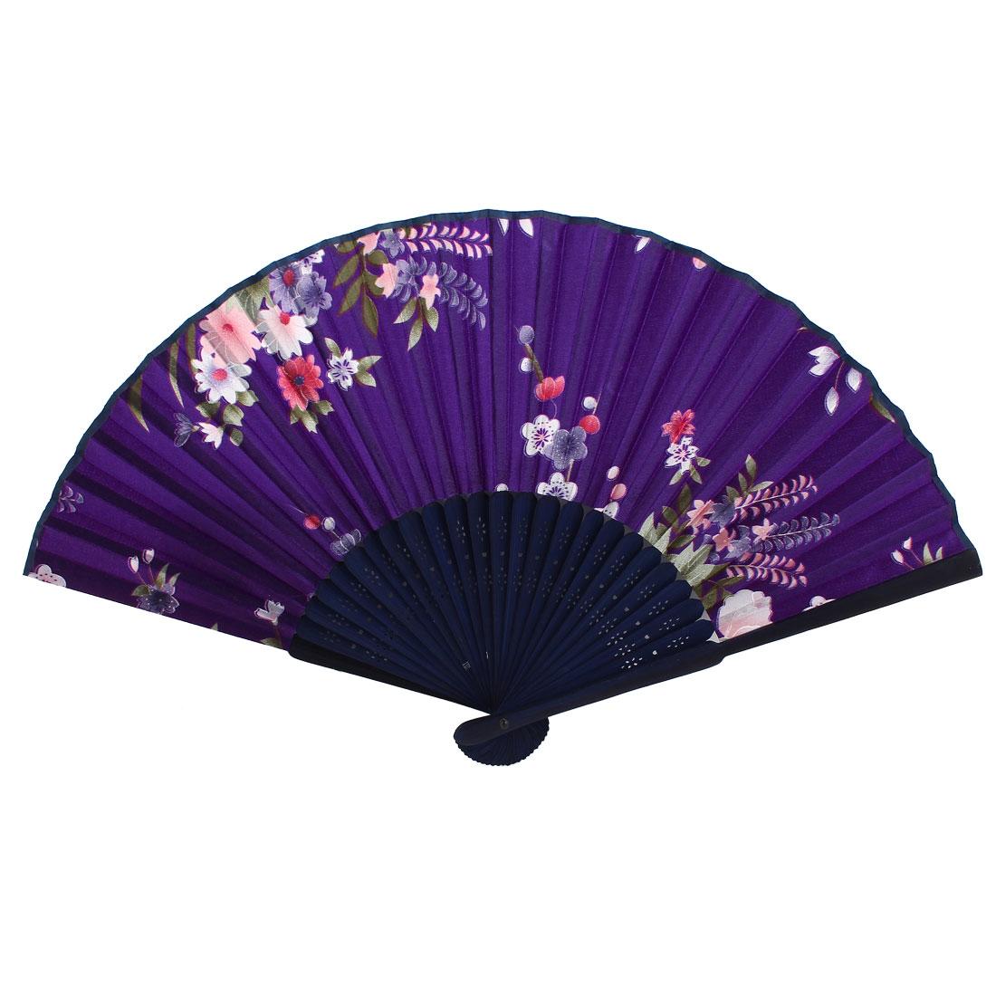 Purple Navy Blue Bamboo Ribs Peony Pattern Foldable Hand Fan