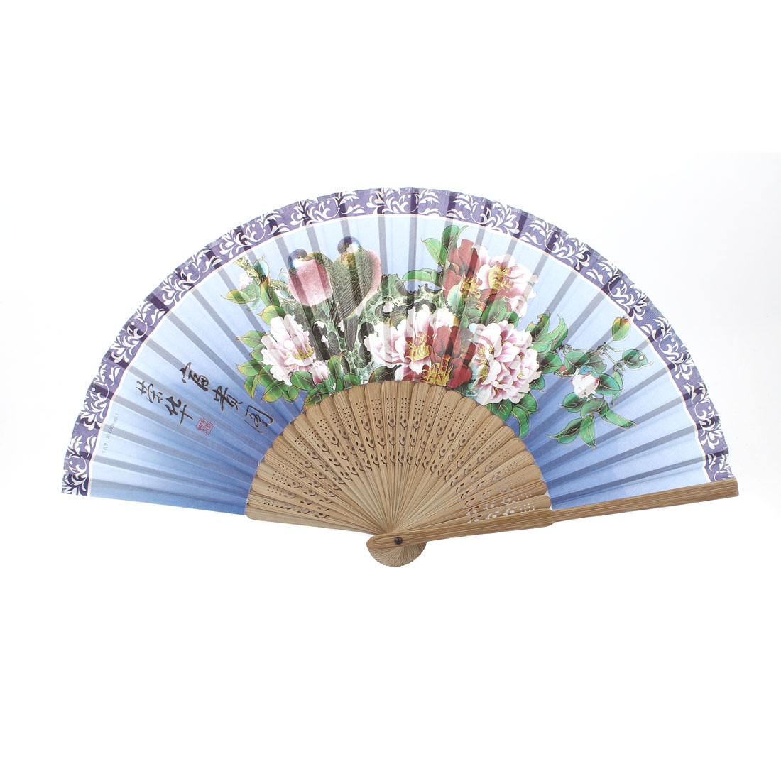 Beige Blue Bamboo Ribs Birds Peony Pattern Foldable Hand Fan
