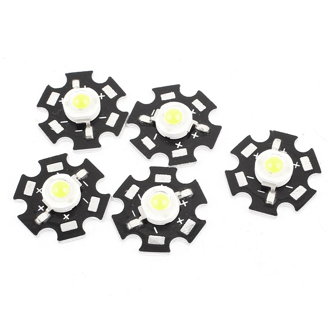 5pcs 1W 3.0-3.6V 350mA 90LM Pure White LED Bead Emitter 20mm Star Platine Heatsink