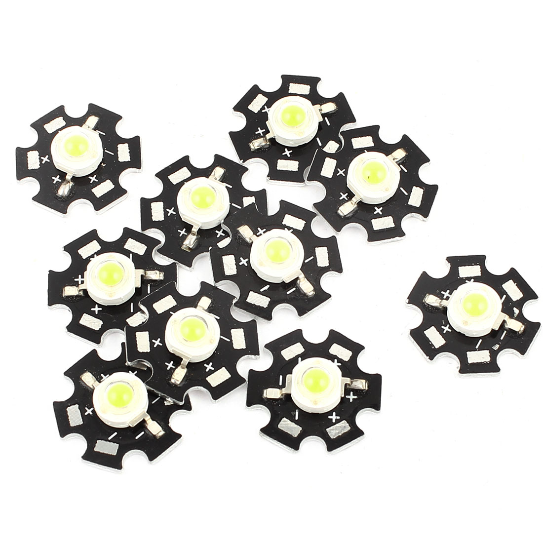 1W 3.0-3.6V 350mA LED Lamp Light Emitter Bead 20mm Heatsink Pure White 10PCS