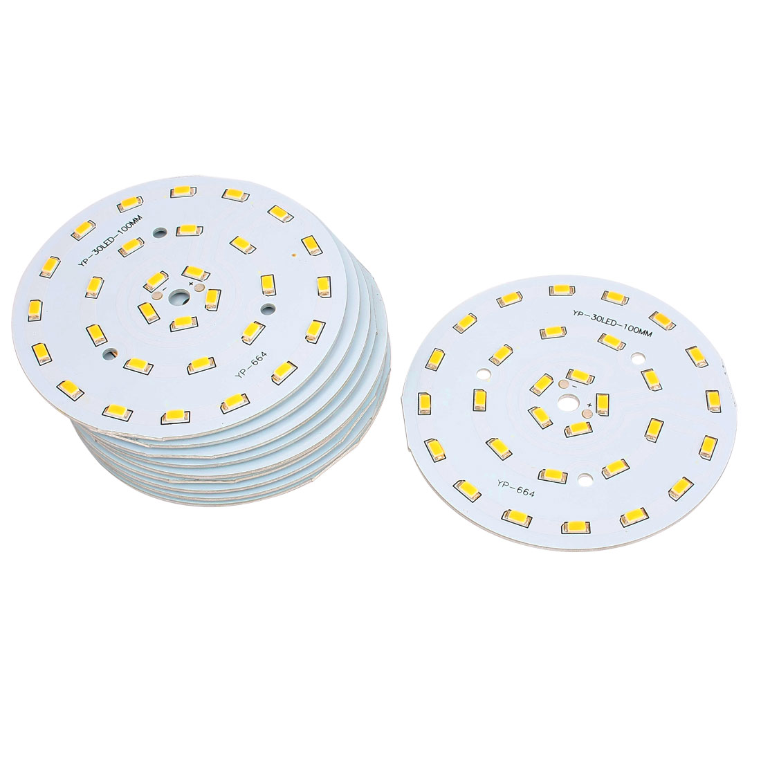 10 Pcs 15W Warm White SMD 5630 30-LED Spotlight Aluminum Base Plate 100mm Dia