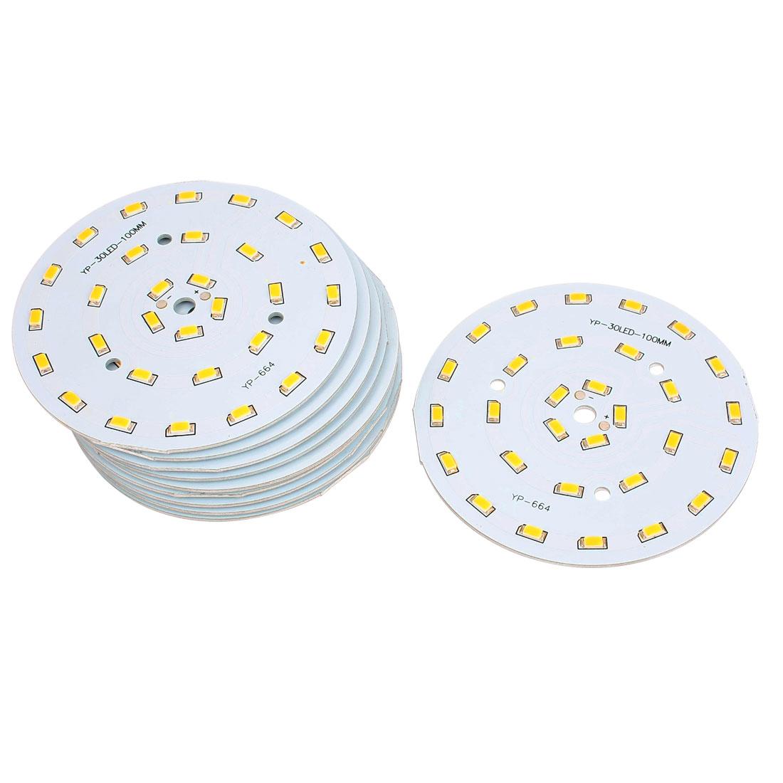 10 Pcs 15W Warm White SMD 5630 30-LED Spotlight Aluminum Base Plate 100mm Dia