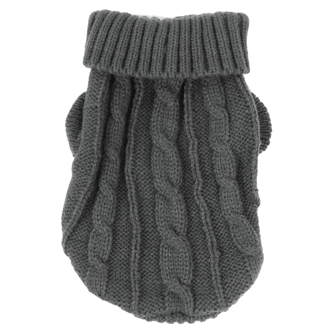 Pet Dog Yorkie Twisted Knit Ribbed Cuff Turtleneck Apparel Sweater Dark Gray Size XXS