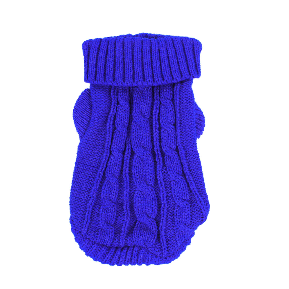 Pet Dog Maltese Twisted Knit Ribbed Cuff Turtleneck Apparel Sweater Royal Blue Size XXS