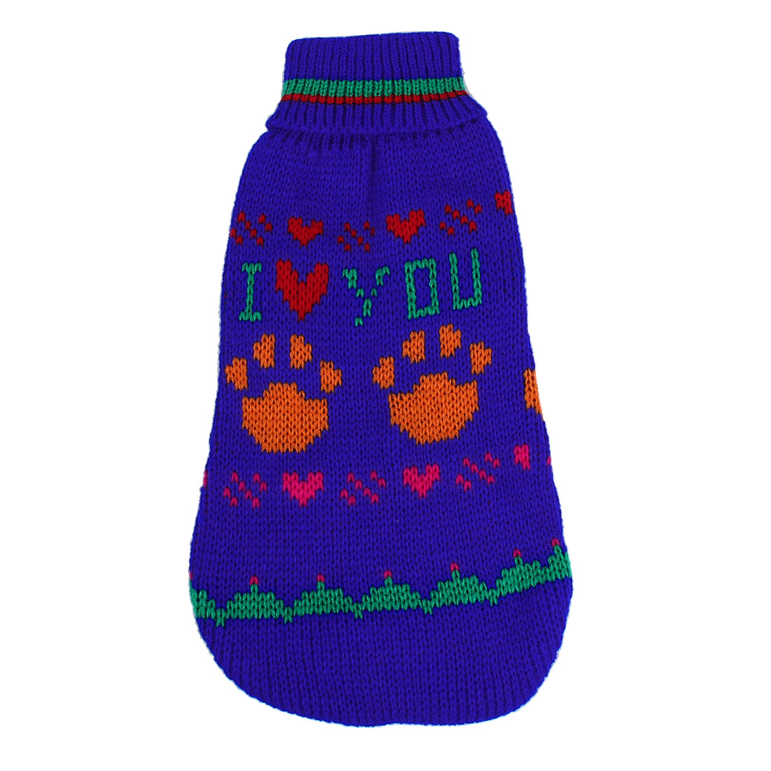 Pet Dog Puppy Ribbed Cuff Paw Pattern Knitwear Hoodie Apparel Sweater Royal Blue Size 10