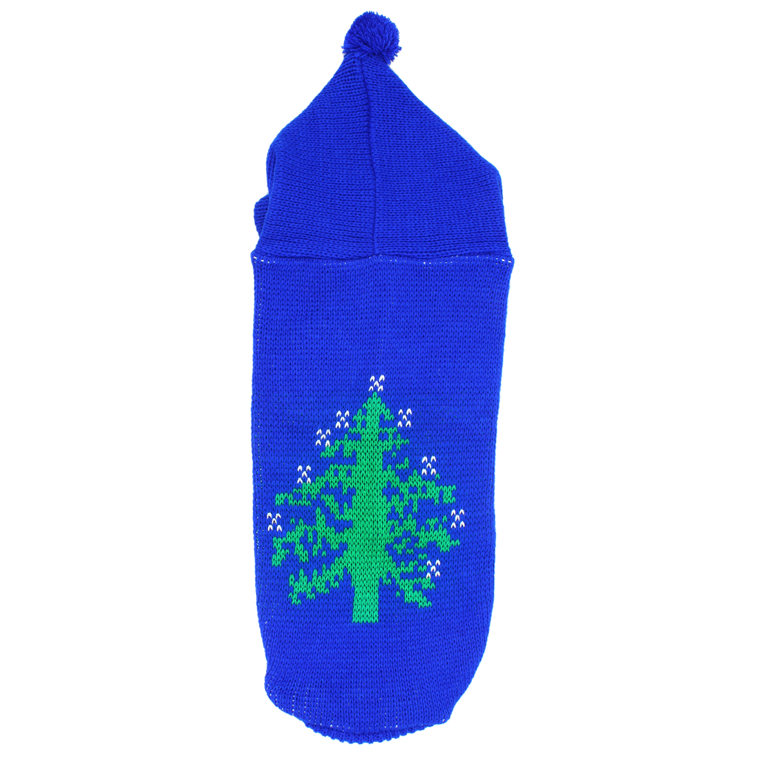 Pet Dog Poodle Ribbed Cuff Knitwear Hooded Apparel Sweater Royal Blue Size L