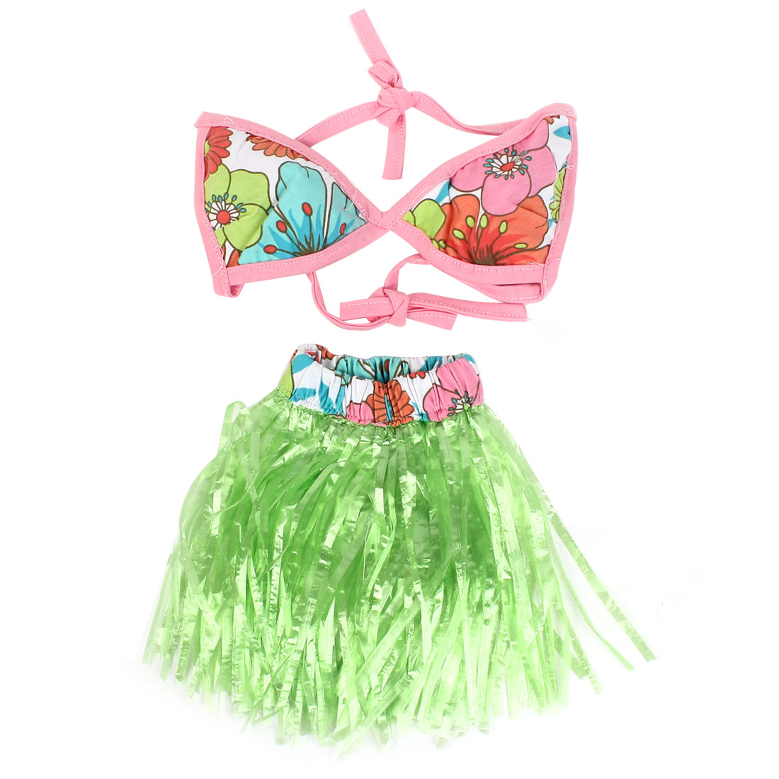 Green Pink Self Tie Pet Dog Puppy Bikini Summer Cool Swim Suit Apparel Skirt Dress Size M