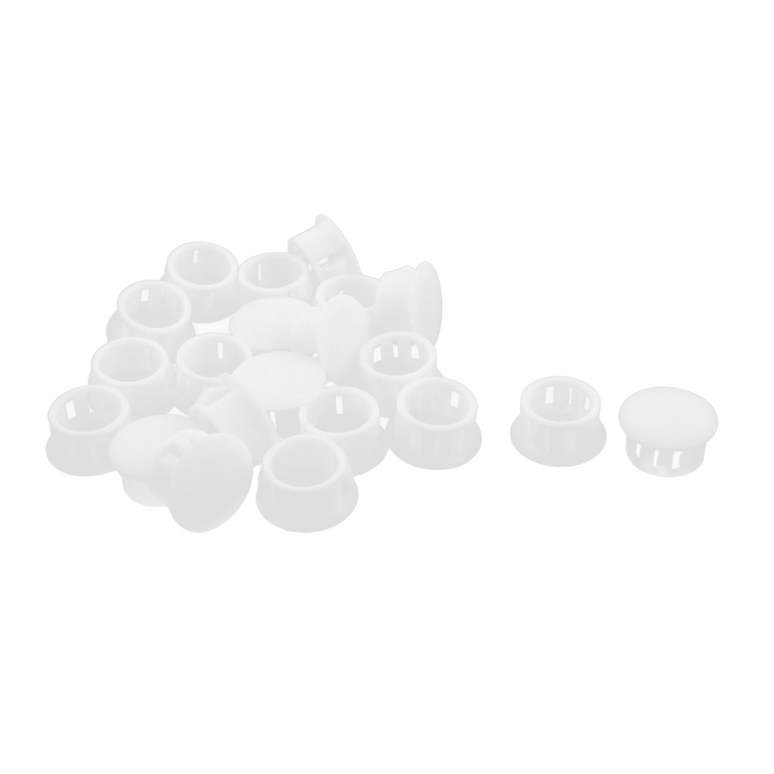 20Pcs SKT-16 Insulated White Plastic Snap in Mounting Locking Hole Plug Harness Fastener Cover 16mm Dia