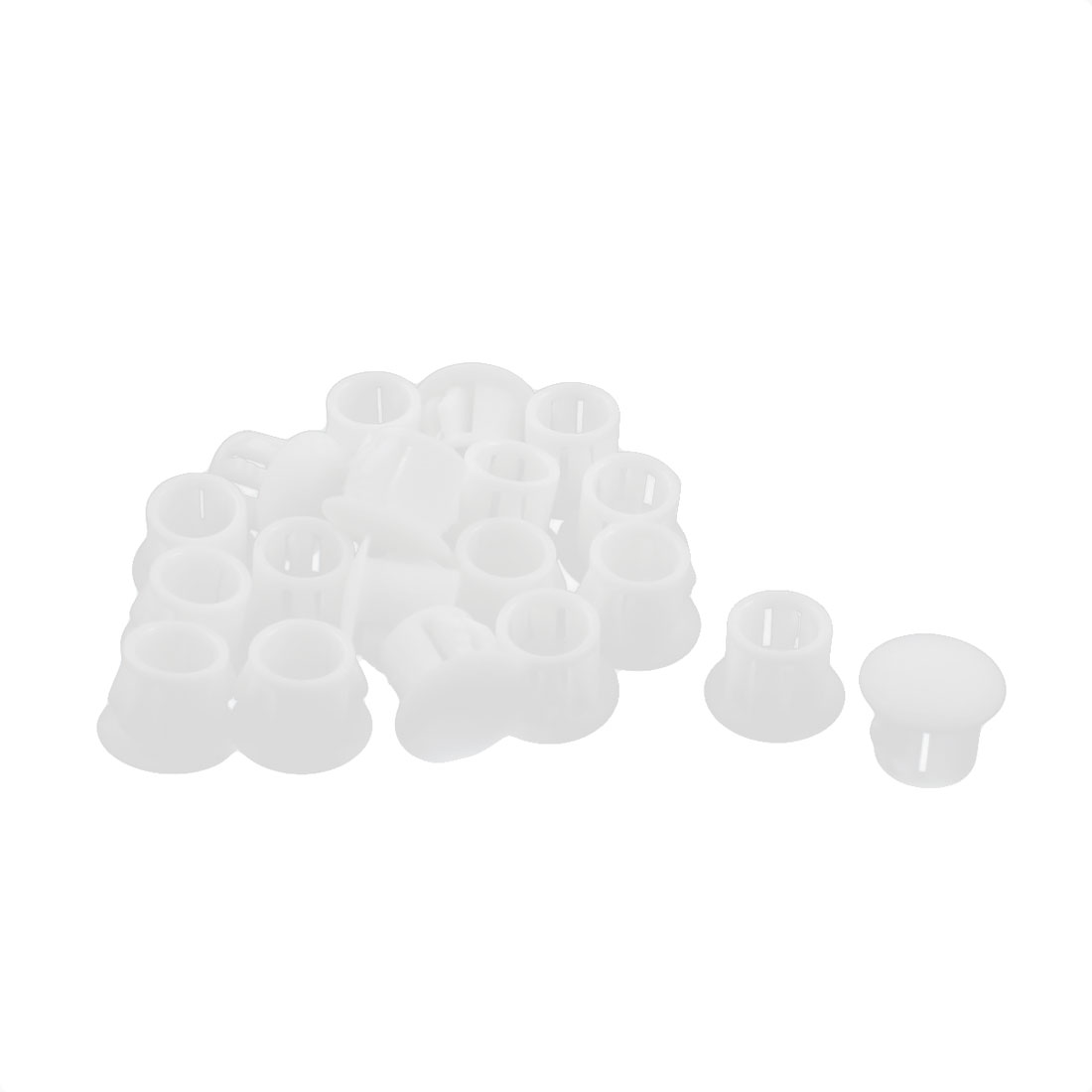 20 Pcs SKT-10 Round White Plastic Insulated Snap in Blank Locking Hole Fastener Harness Cover 9.5mm
