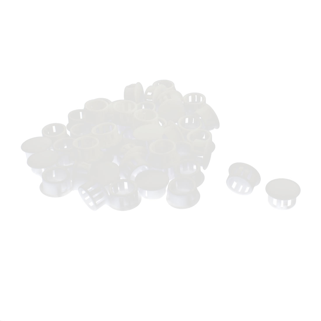 50Pcs SKT-16 Insulated White Plastic Snap in Mounting Locking Hole Harness Fastener Cover 16mm Dia