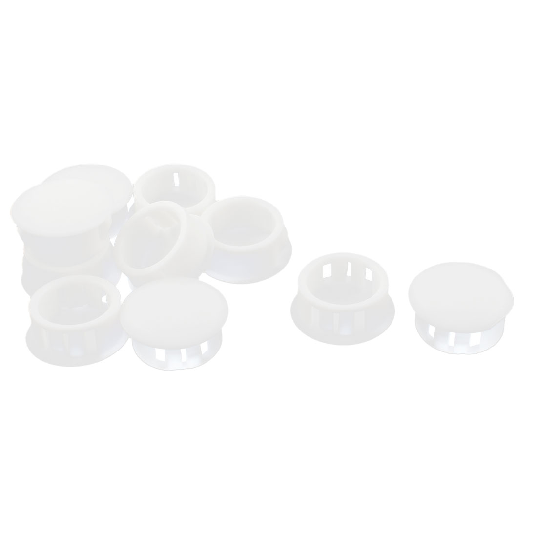 10 Pcs SKT-20 20.1mm Insulated White Plastic Snap in Mounting Locking Hole Plug Harness Fastener Cover