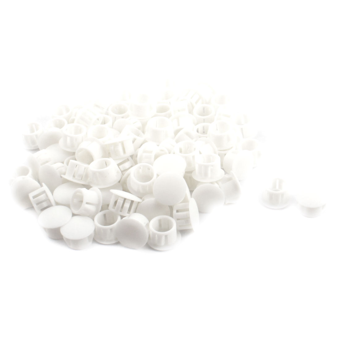 SKT-13 12.7mm Dia Round Insulated White Plastic Snap in Mount Lock Hole Plug Cover Harness Fastener 100Pcs