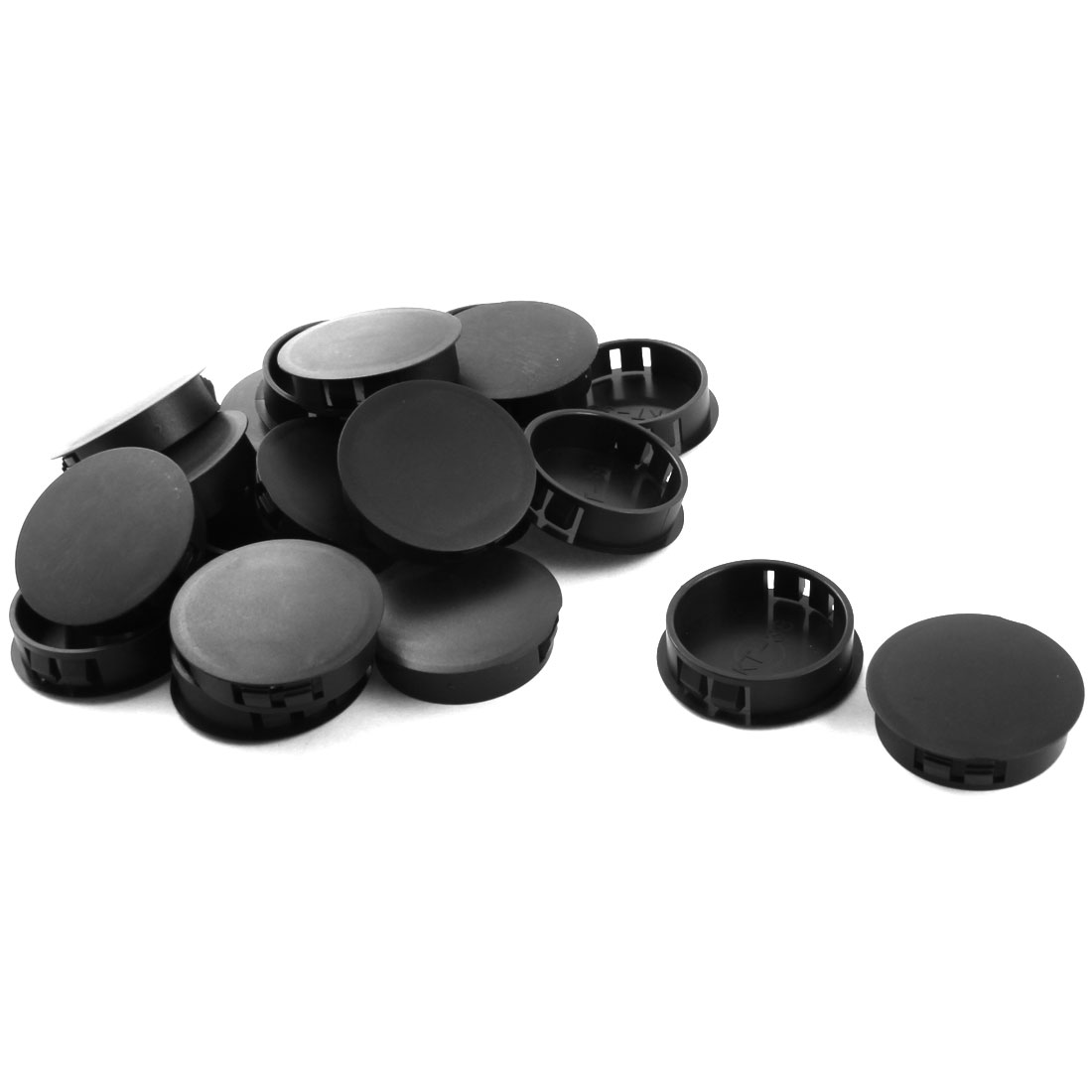 20Pcs 38mm Dia Insulated Black Plastic Snap in Mounting Blank Domed Locking Hole Cover Fastener Harness