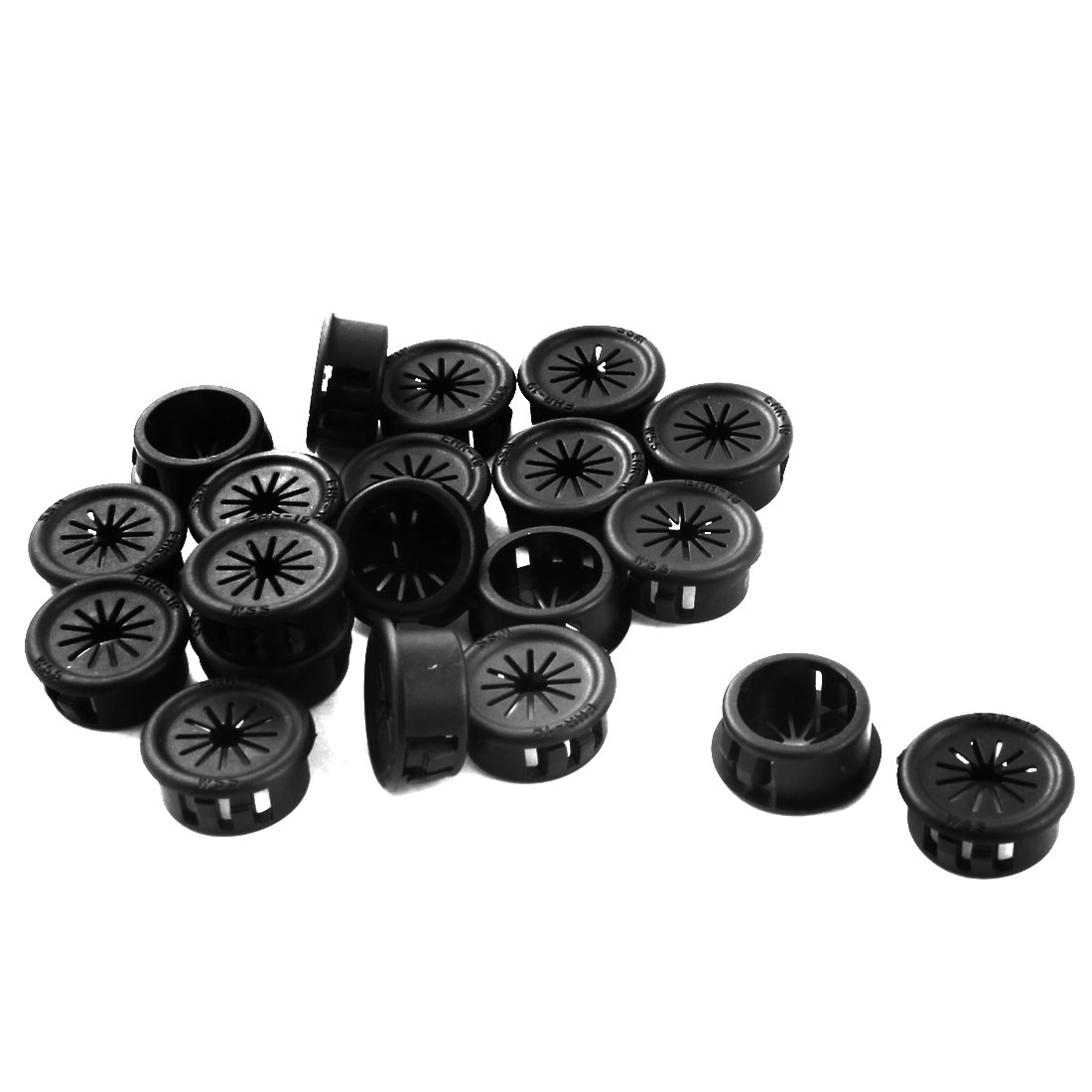 20Pcs 19mm Black Plastic Insulation Cable Pipe Hose Snap Bushing Protector Grommet Harness