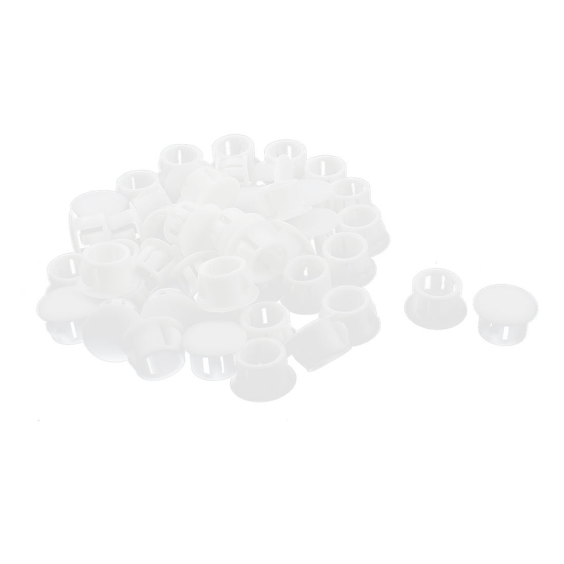 50Pcs SKT-13 Insulated White Plastic Snap in Mounting Locking Hole Plug Harness Fastener Cover 12.7mm Dia