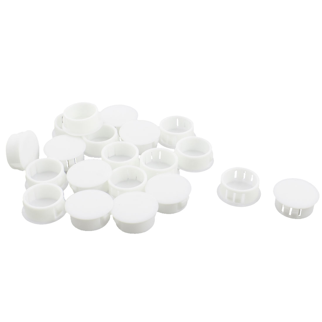 20 Pcs SKT-22 22.1mm Insulated White Plastic Snap in Mount Blank Domed Lock Hole Cover Harness Fastener