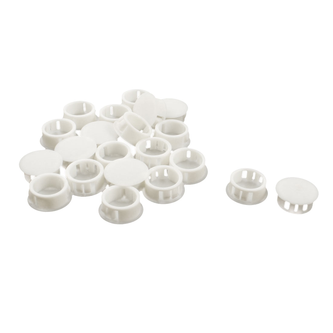 20PCS SKT-20 20.1mm Insulated White Plastic Snap in Mount Domed Blank Lock Hole Cover Harness Fastener