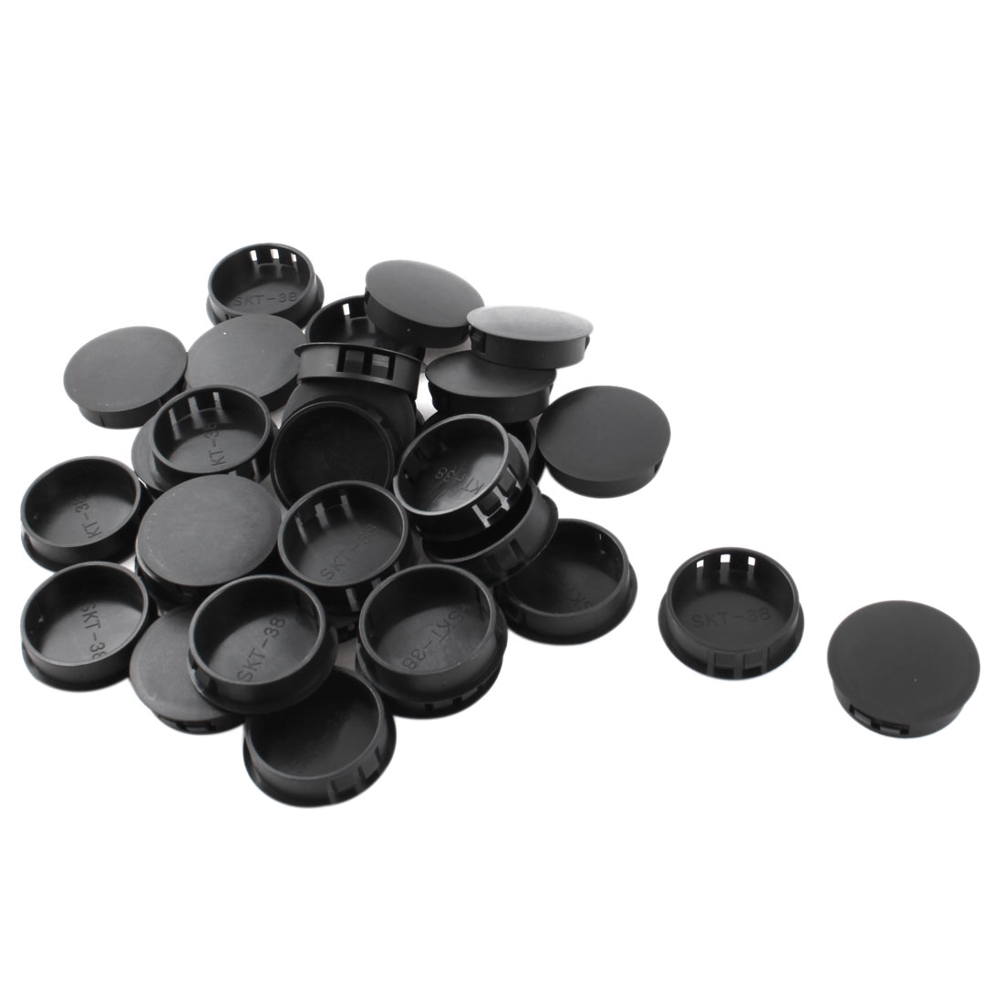 30Pcs 38mm Dia Insulated Black Plastic Snap in Mounting Blank Domed Locking Hole Cover Fastener Harness