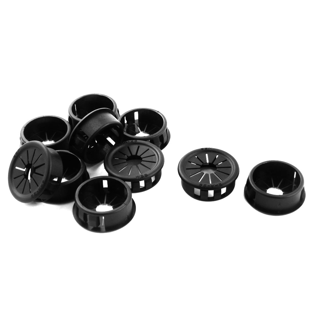 10Pcs 27.5mm Mount Hole Insulation Black Plastic Cable Pipe Snap in Lock Bushing Protector Grommet Harness