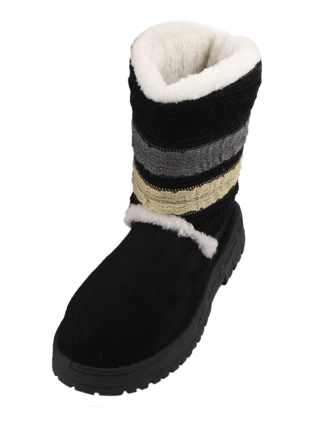 Ladies Faux Suede Warm Shoes Short Slip On Snow Boots Black US 8