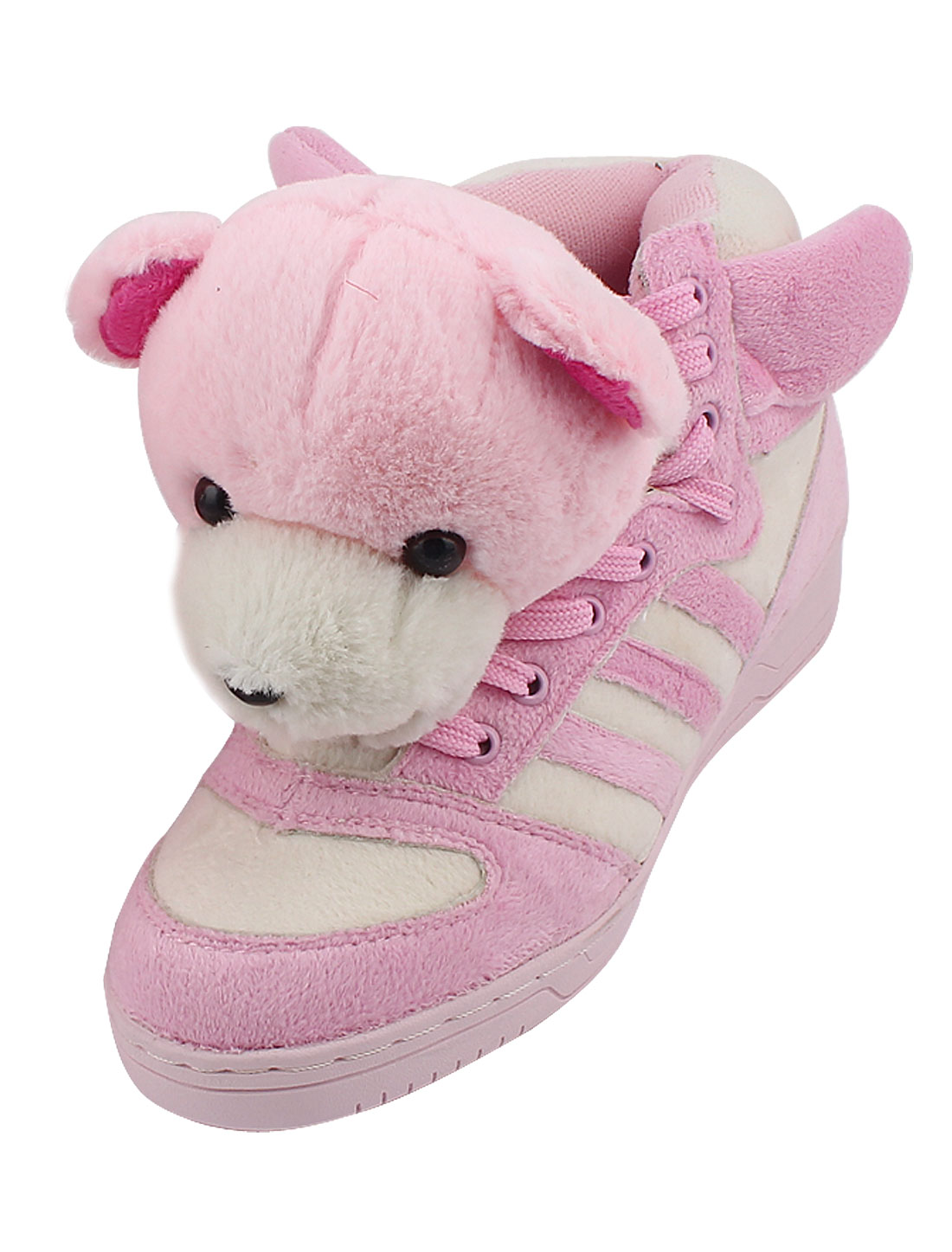 Women Lovely Plush Bear Decor Sports Shoes Ankle Boots White Pink US 7