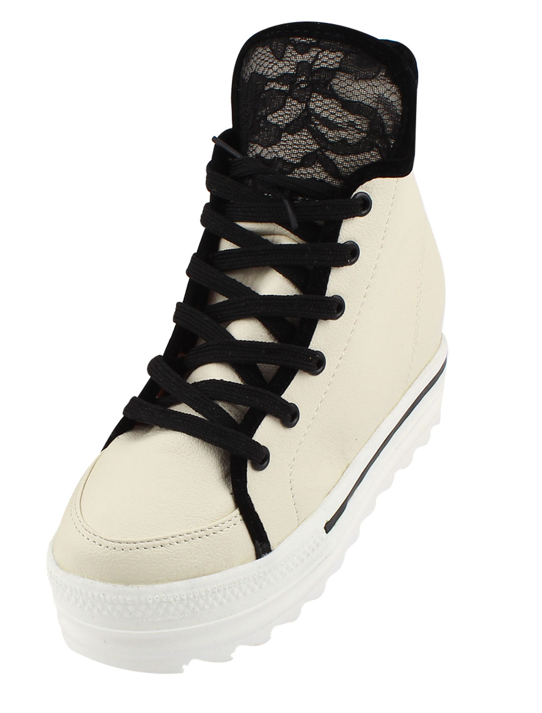 Faux Leather Lace Up Shoes High Top Sneakers Beige US 7 for Women