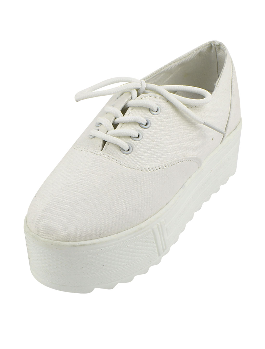 Canvas Shoes Lace Up Low Top Sneakers White US 6.5 for Women