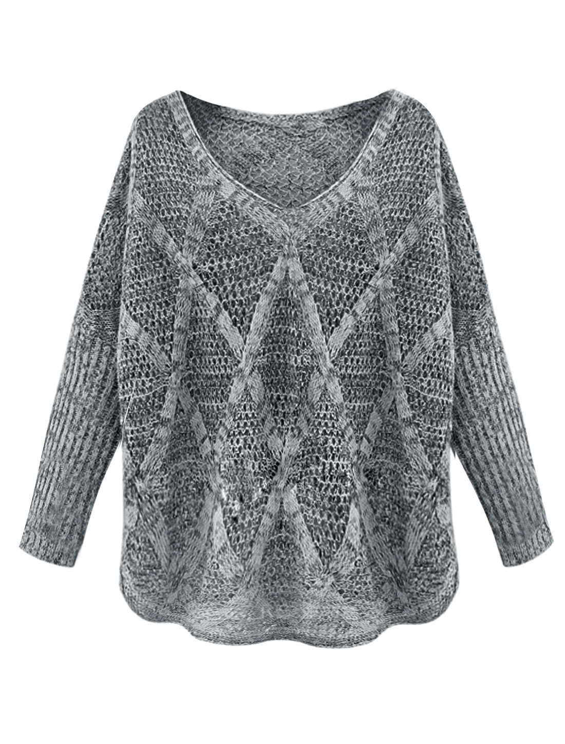Lady V Neck Hollow Out See Through Long Sleeve Loose Fit Knit Top Gray S