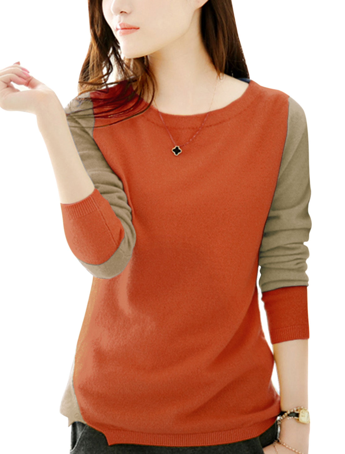 Lady Round Neck Color Block Split One Side Casual Knit Shirt Orange S