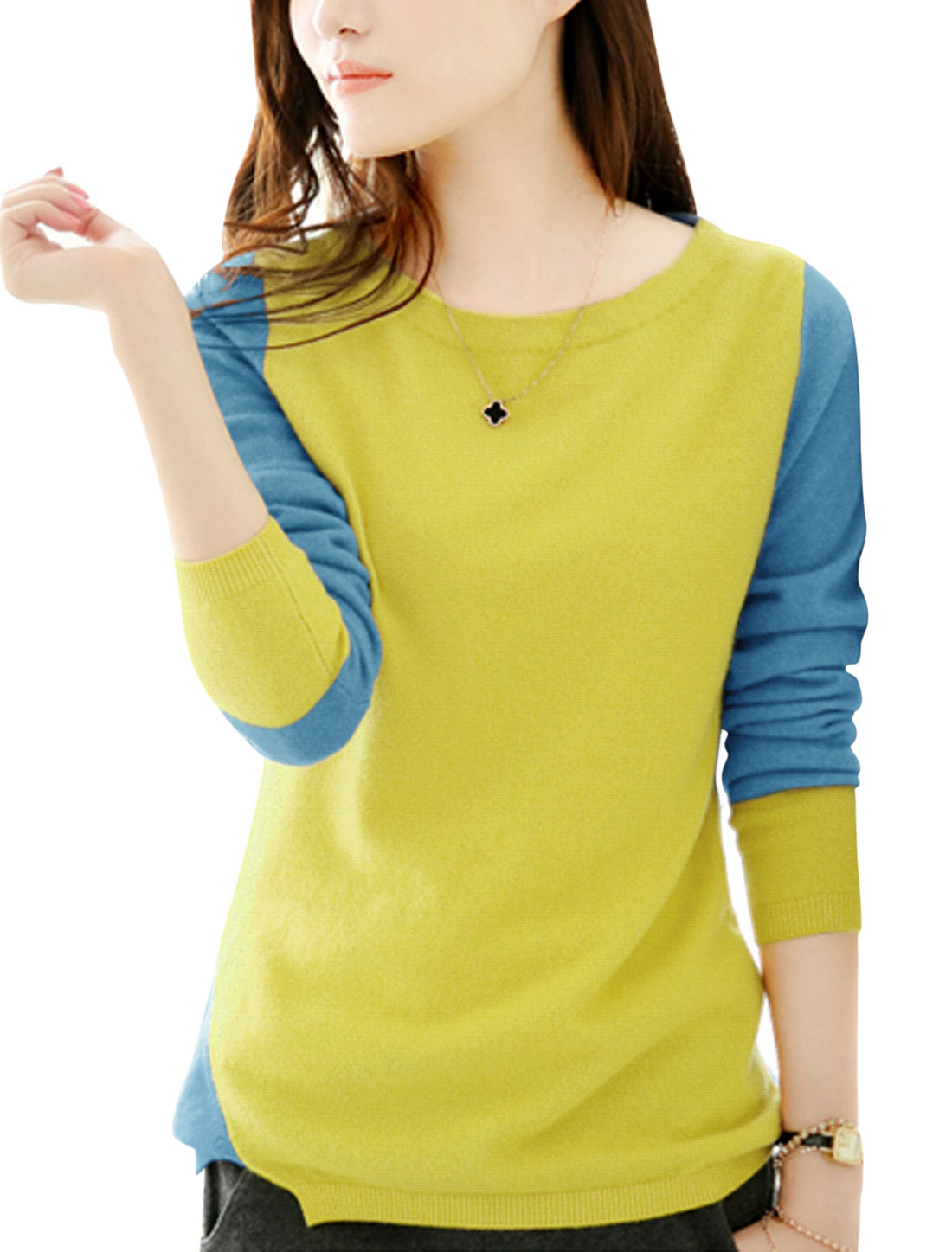 Lady Long Sleeve Color Block Casual Knit Shirt Yellow Light Blue S