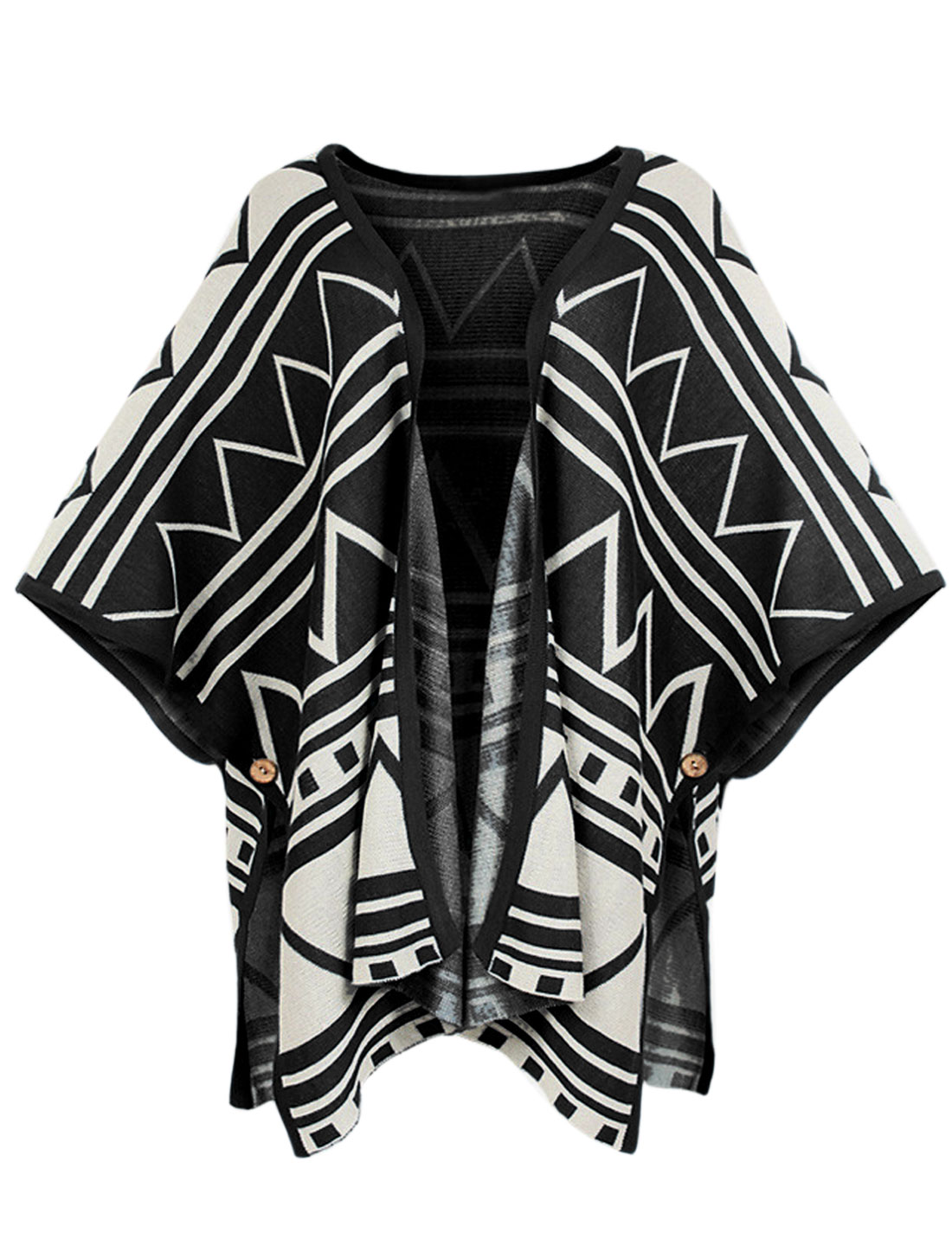 Lady Cape Sleeve Geometric Pattern Casual Knit Cape Black S