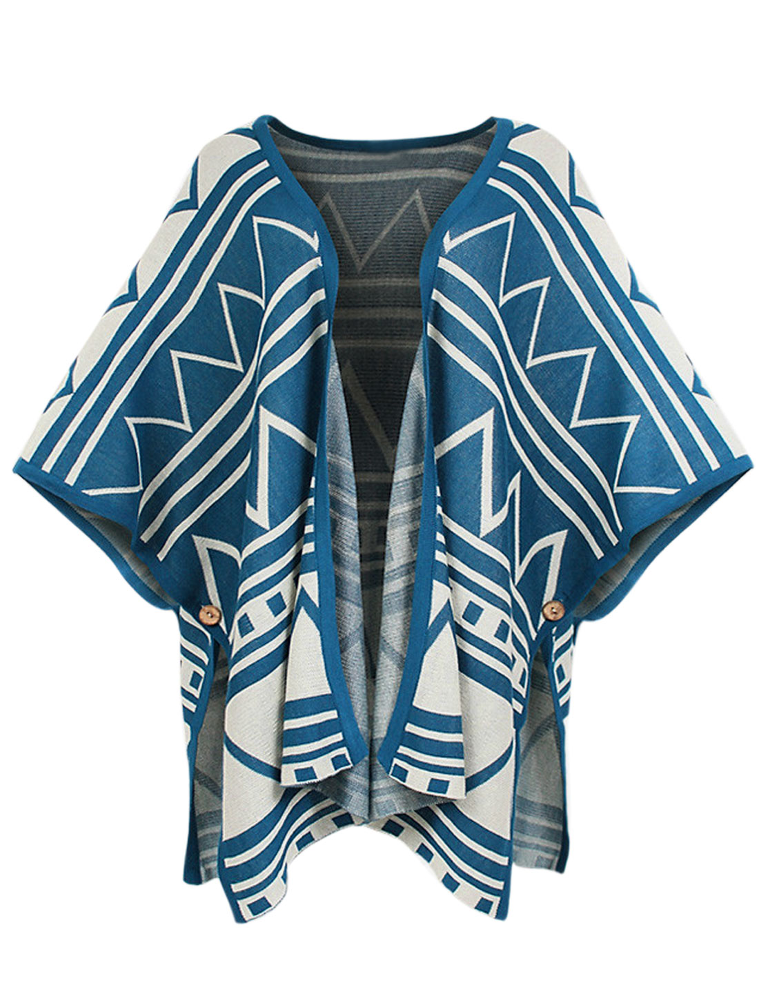 Loose Fit Cape Sleeve Geometric Pattern Knit Cape for Lady Turquoise S