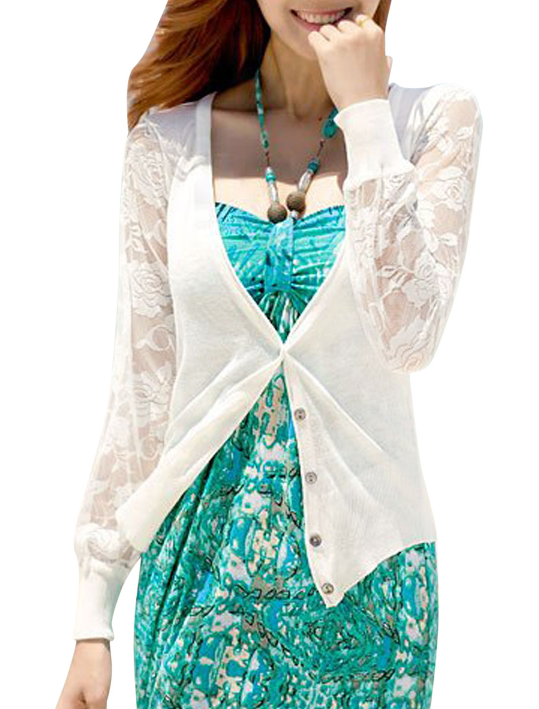 Lady Long Sleeve Single Breasted Lace Design Casual Knit Cardigan White XS