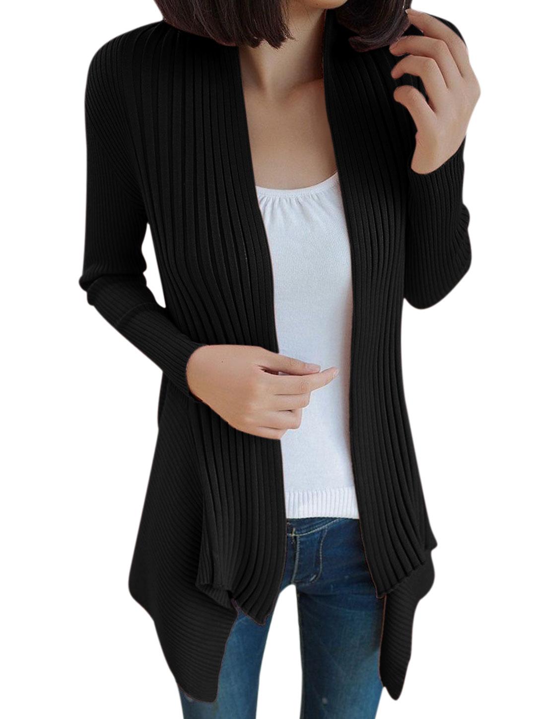 Lady Long Sleeve Irregular Hem Open Front Cardigan Black S