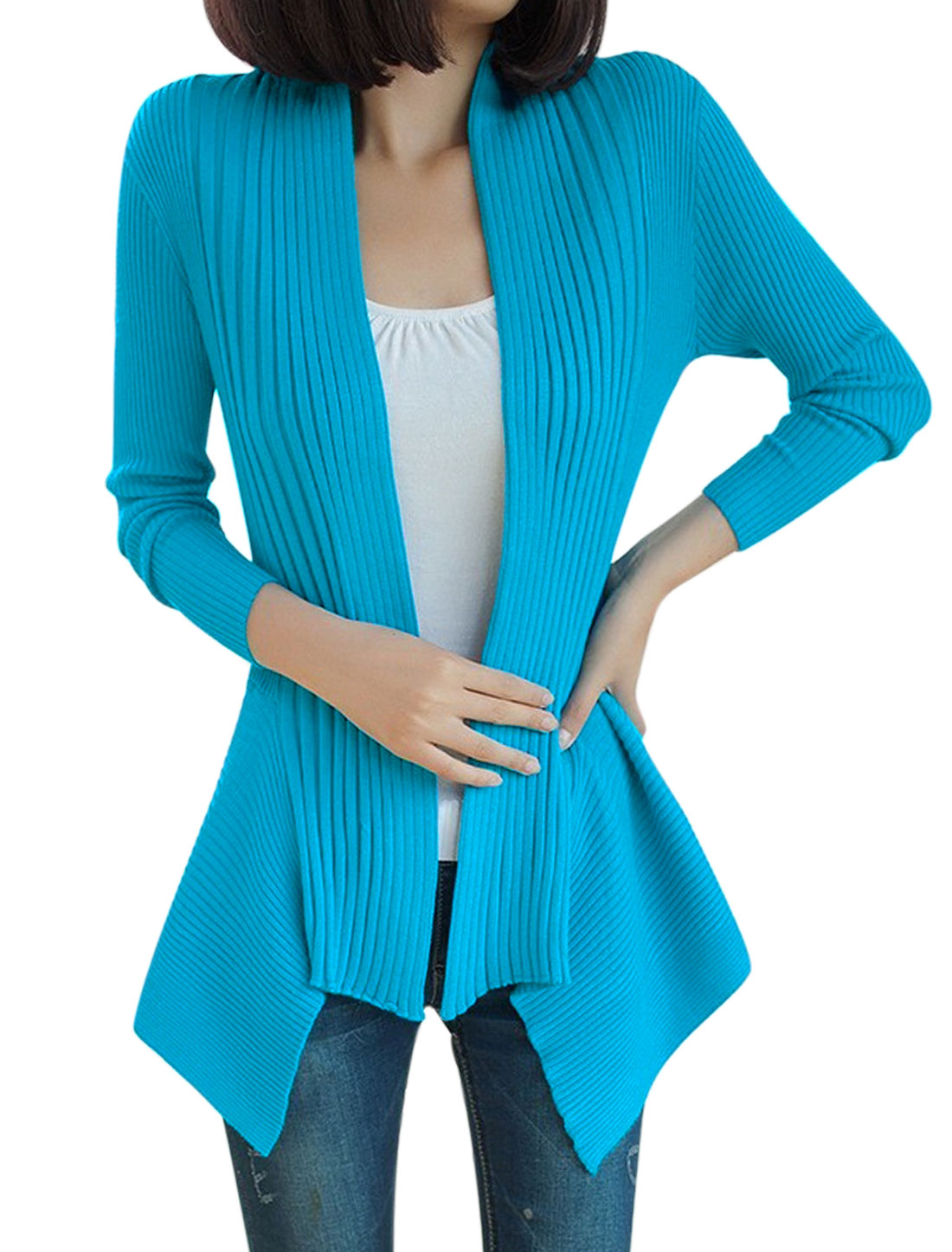 Lady Long Sleeve Ribbed Irregular Hem Open Front Cardigan Blue S