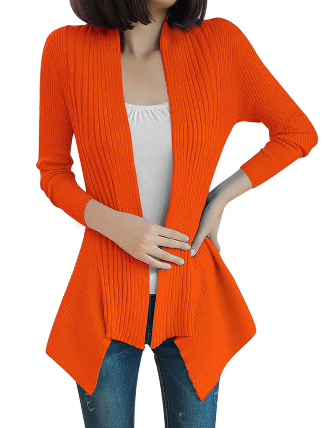 Lady Long Sleeve Irregular Hem Cardigan Orange S