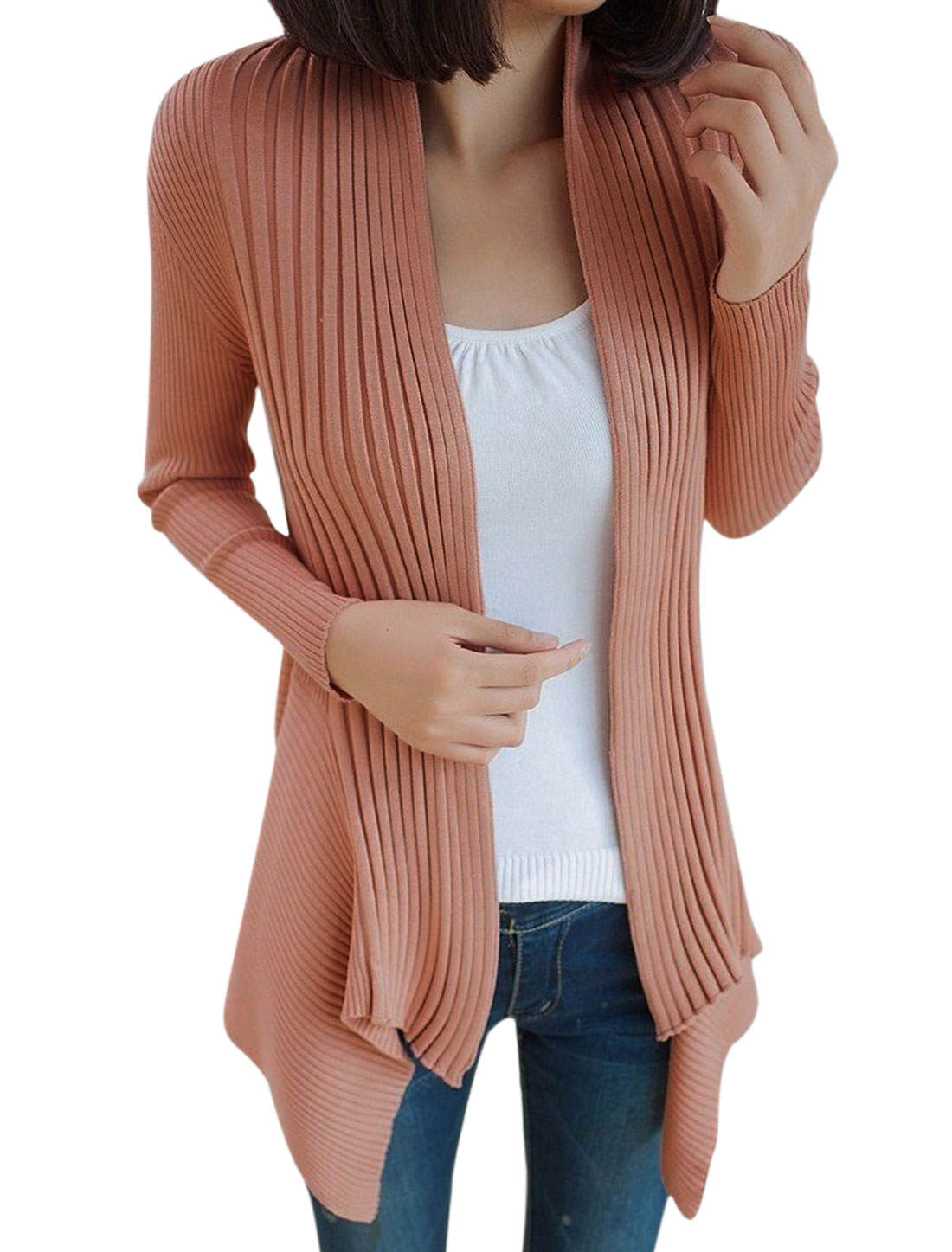 Lady Long Sleeve Open Front Cardigan Pale Pink S