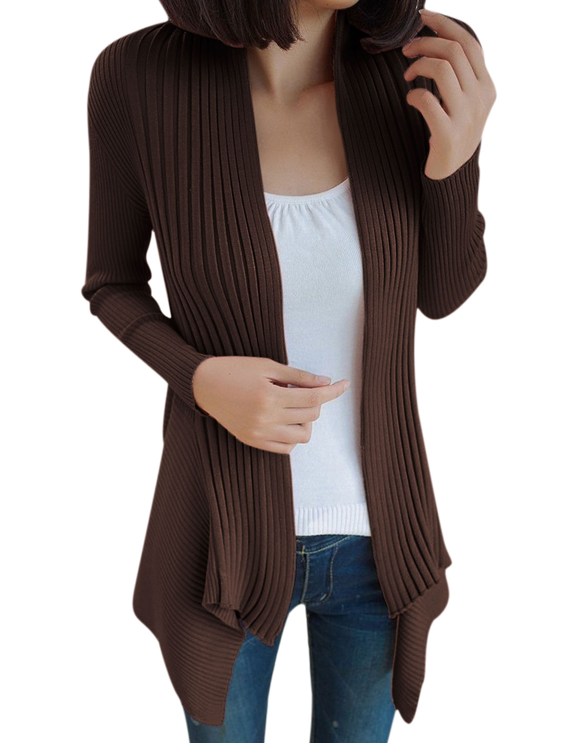 Lady Long Sleeve Irregular Hem Stretchy Cardigan Coffee S