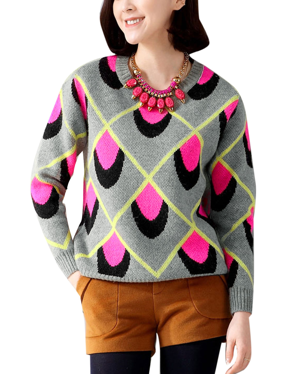 Lady Round Neck Pullover Round Cuffs Novelty Pattern Sweater Pink XS