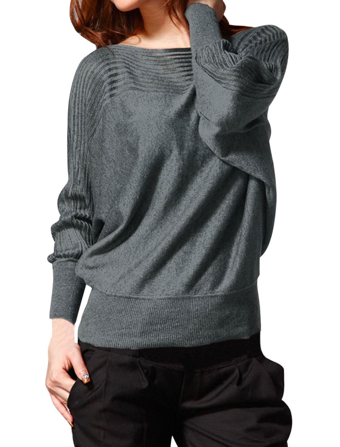 Women Semi Sheer Yoke Slipover Loose Fit Casual Knit Top Gray XS