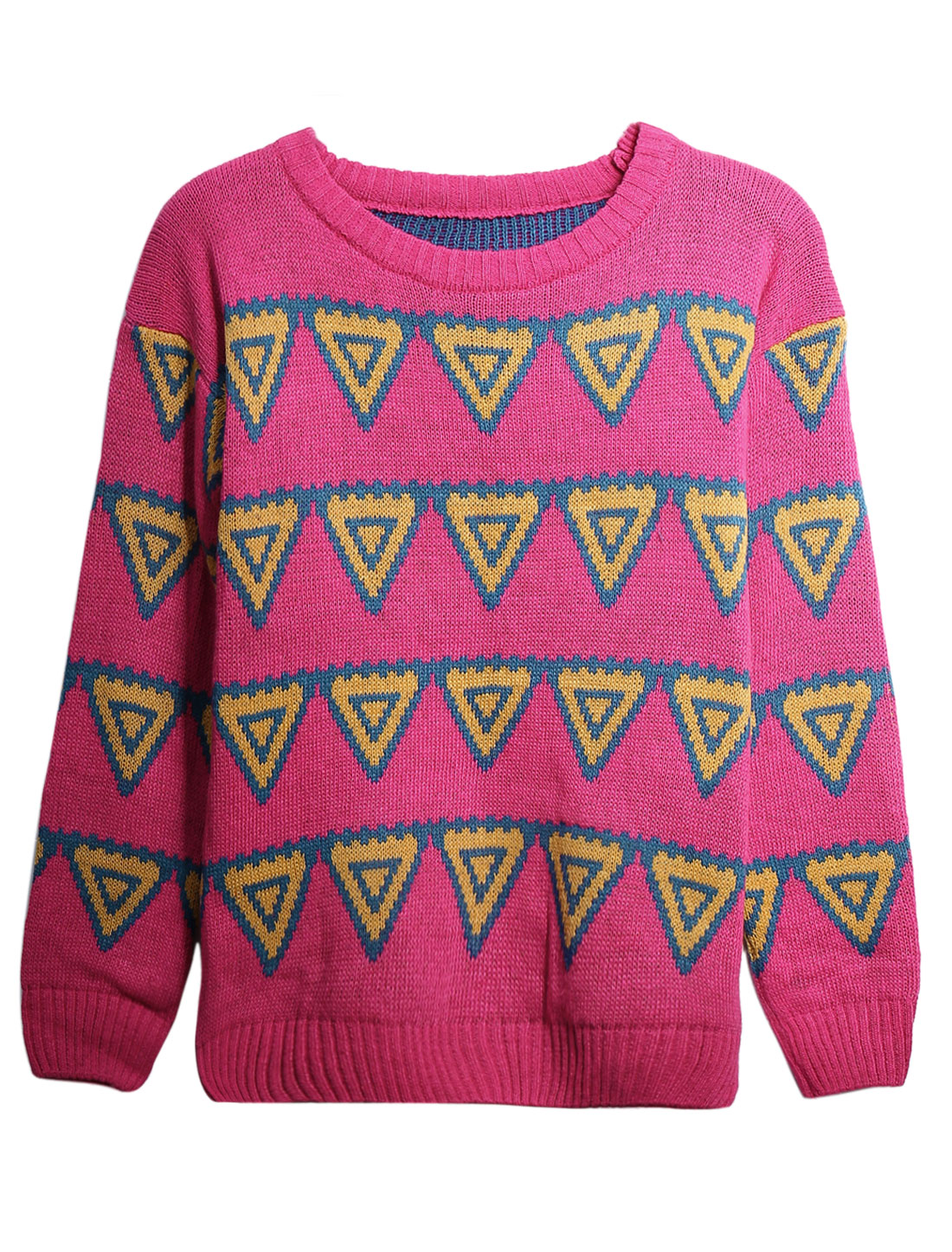 Lady Round Neck Inverted Triangle Pattern Long Sleeve Sweater Deep Pink S