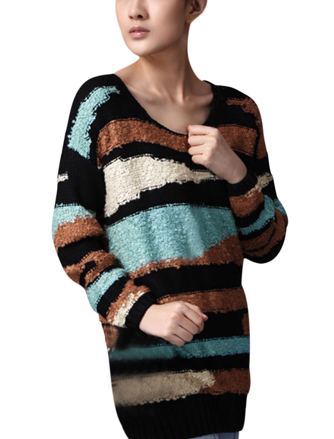 Lady Stripes Contrast Color Long Sleeve Casual Sweater Black XS