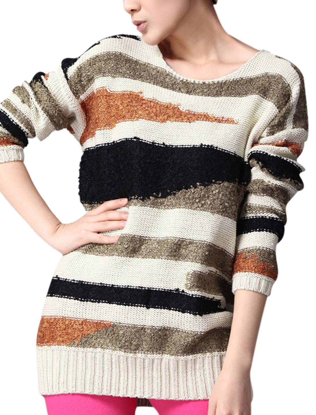 Women Korean Style Color Block Pullover Casual Sweater Beige XS