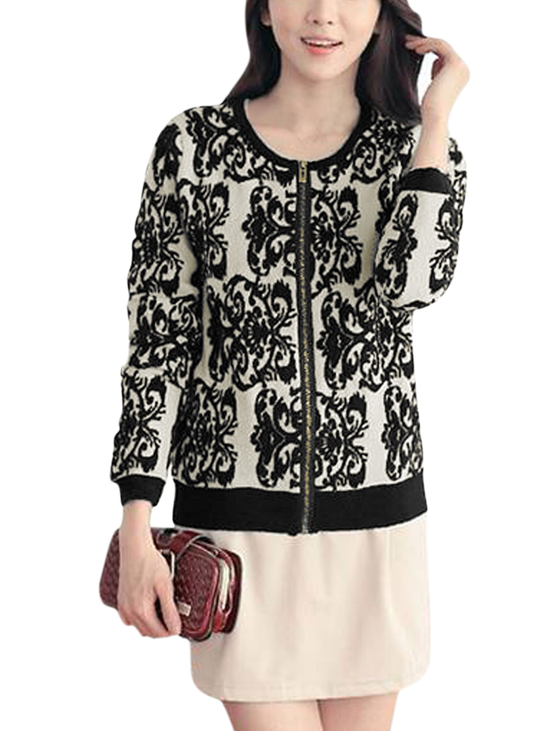 Women Round Neck Floral Pattern Zip Up Front Casual Knit Coat Black XS