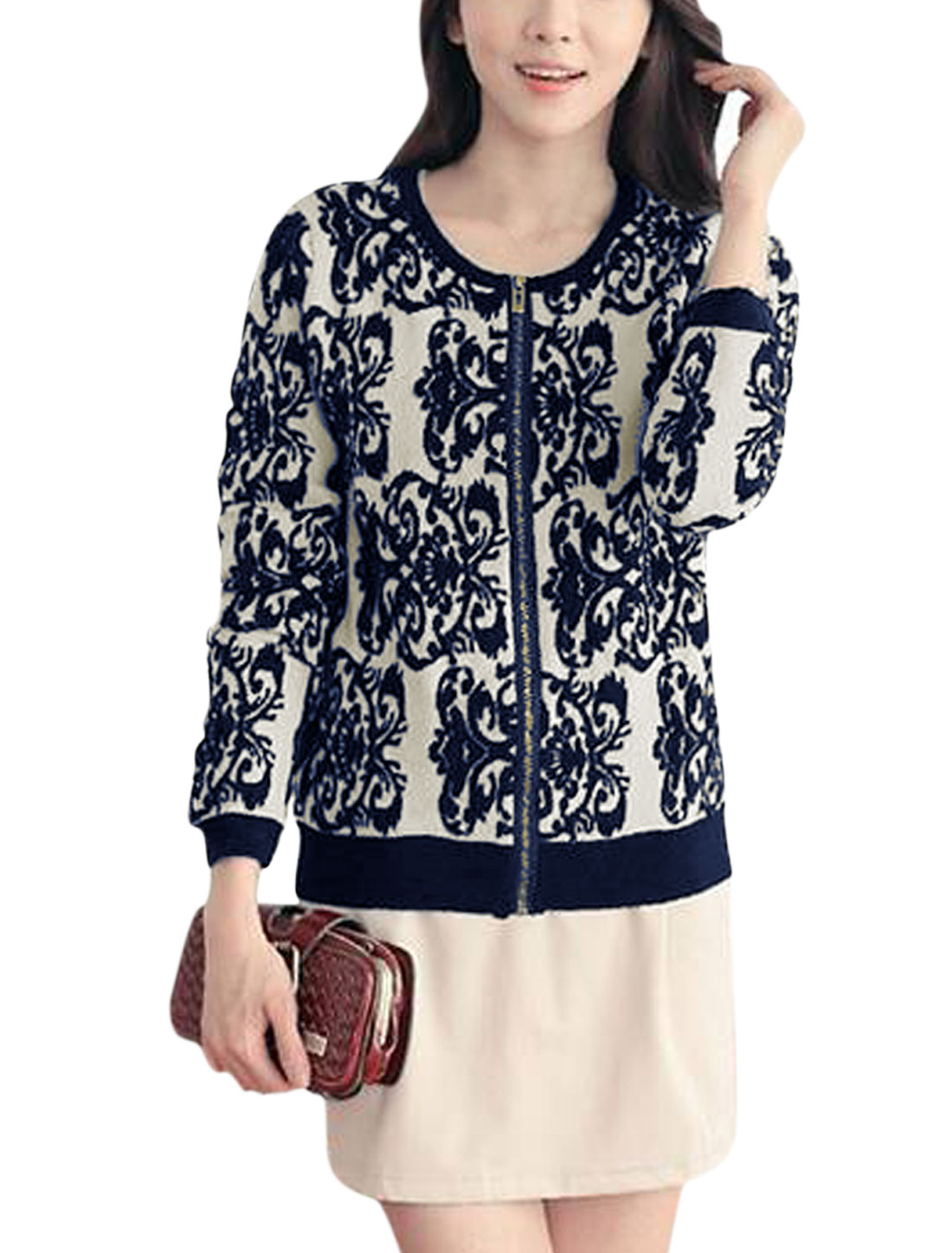 Lady Fashion Style Floral Pattern Casual Knit Coat Navy Blue XS