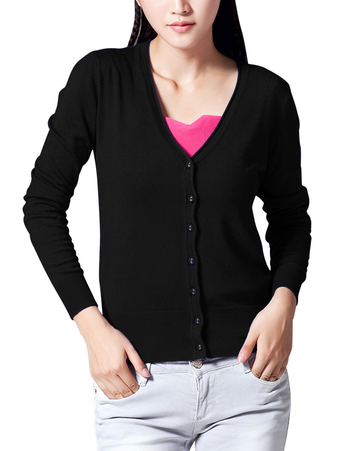 Lady Long Raglan Sleeve Single Breasted Casual Knit Cardigan Black M