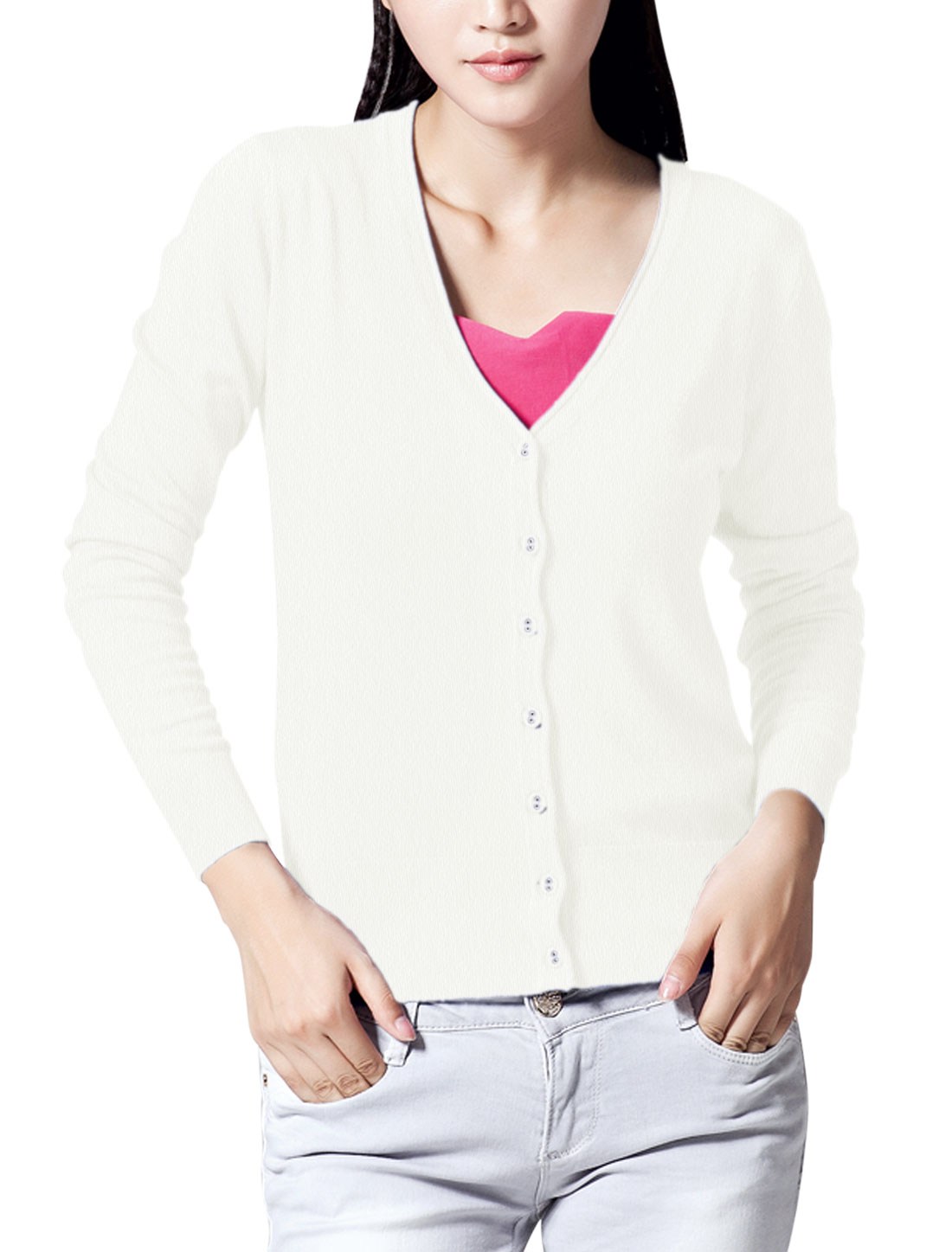 Lady V Neck Ribbed Cuff w Hem Design Casual Knit Cardigan White M