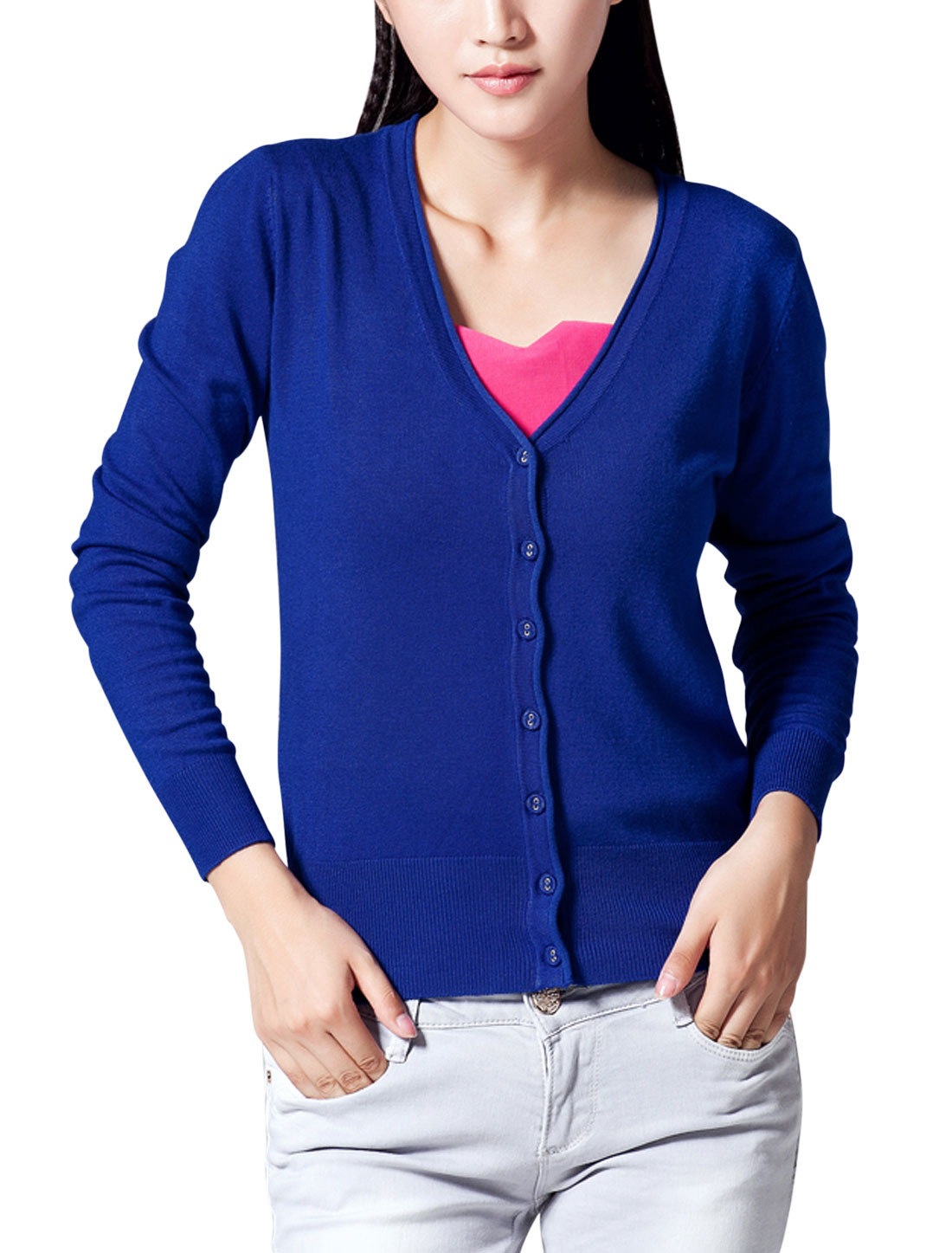 Lady Long Raglan Sleeve Cozy Fit Knit Cardigan Royal Blue M