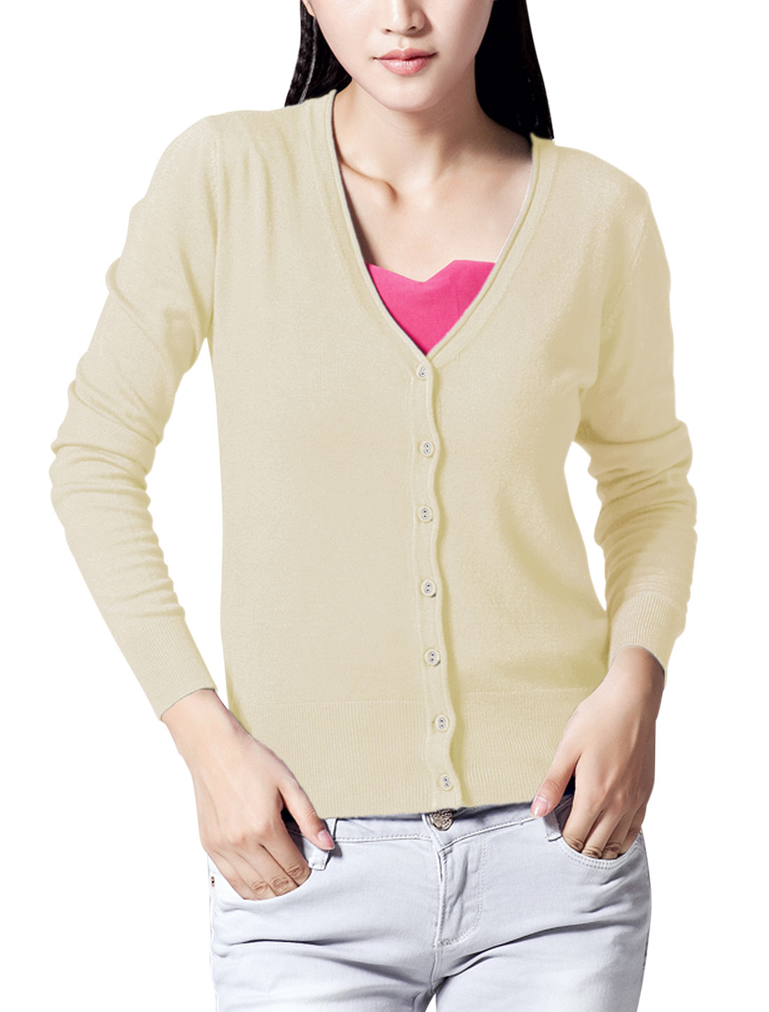 Lady Long Raglan Sleeve Stretchy Knit Cardigan Beige M