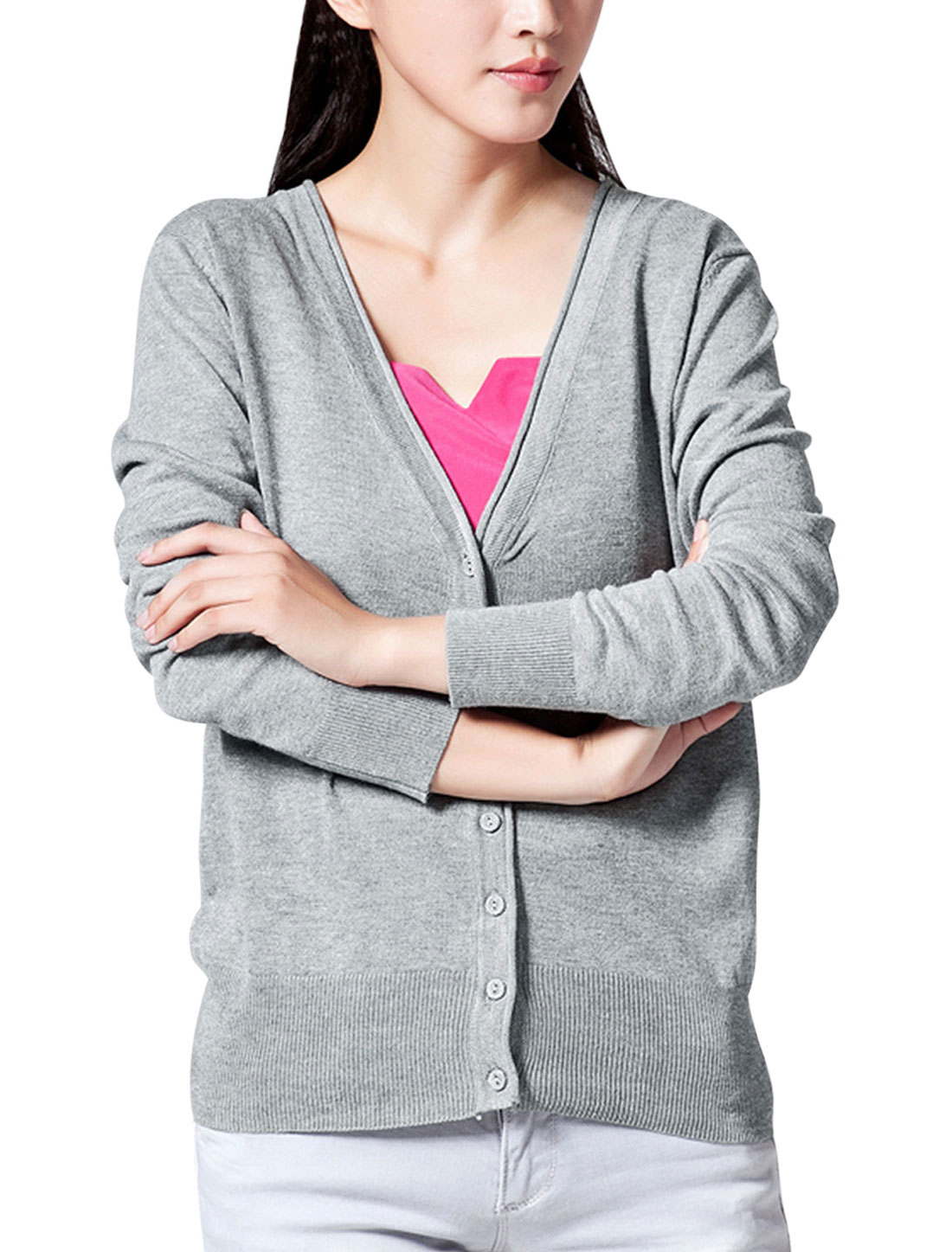 Women V Neck Buttoned Closure Front Casual Knit Cardigan Light Gray M
